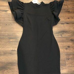Fashion nova black ruffle sleeve dress (NWT) L